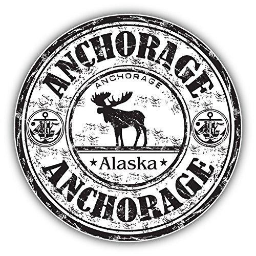 Anchorage City Alaska Grunge Travel Stamp Car Bumper Sticker Decal 5