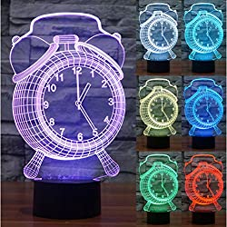 ZLTFashion 3D Visual Optical Illusion Colorful LED Table Lamp Touch Cool Design Night Light Christmas Prank Gifts Romantic Holiday Creative Gadget (Clock)