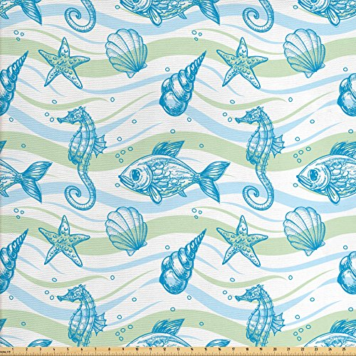 Ambesonne Nautical Fabric by The Yard, Marine Ocean Shell Starfish Oyster Mollusk Sea Horse Underwater Aquatic Pattern, Decorative Fabric for Upholstery and Home Accents, Mint Blue ()