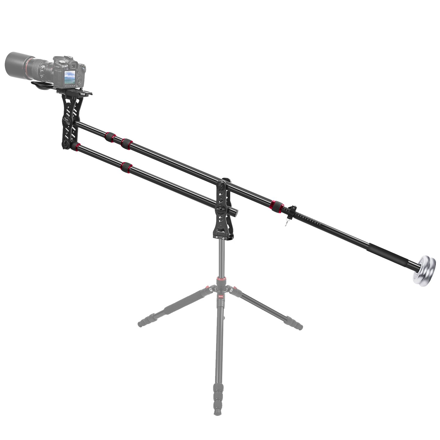 Neewer 70 inches/177 centimeters Aluminum Alloy Jib Arm Camera Crane with 360 Degree Pan Ball Head, Counter Weight, 1/4 and 3/8-inch Quick Release Plate, Load Capacity up to 8 kilograms / 17.6 pounds