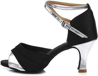97d051cdb HIPPOSEUS Women's Satin Latin Dance Shoes Ballroom Dancing Shoes,Model 221