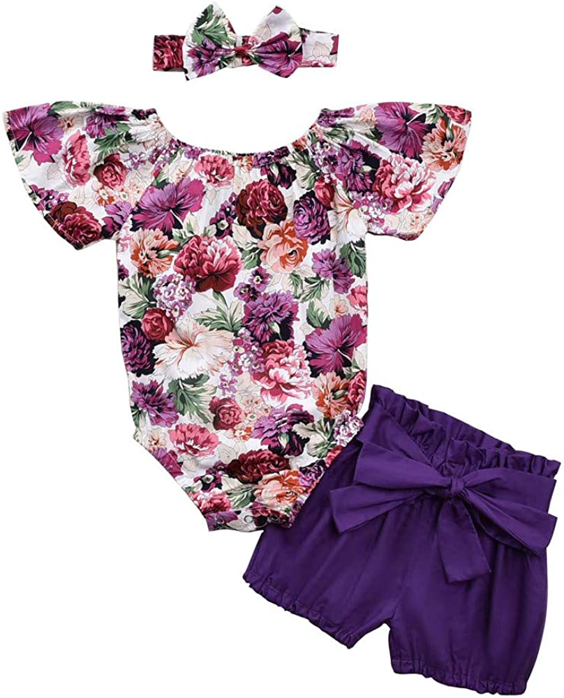 Honykids Newborn Baby Girl Romper Jumpsuit Bodysuit +Pants Shorts+Headband Outfit Set