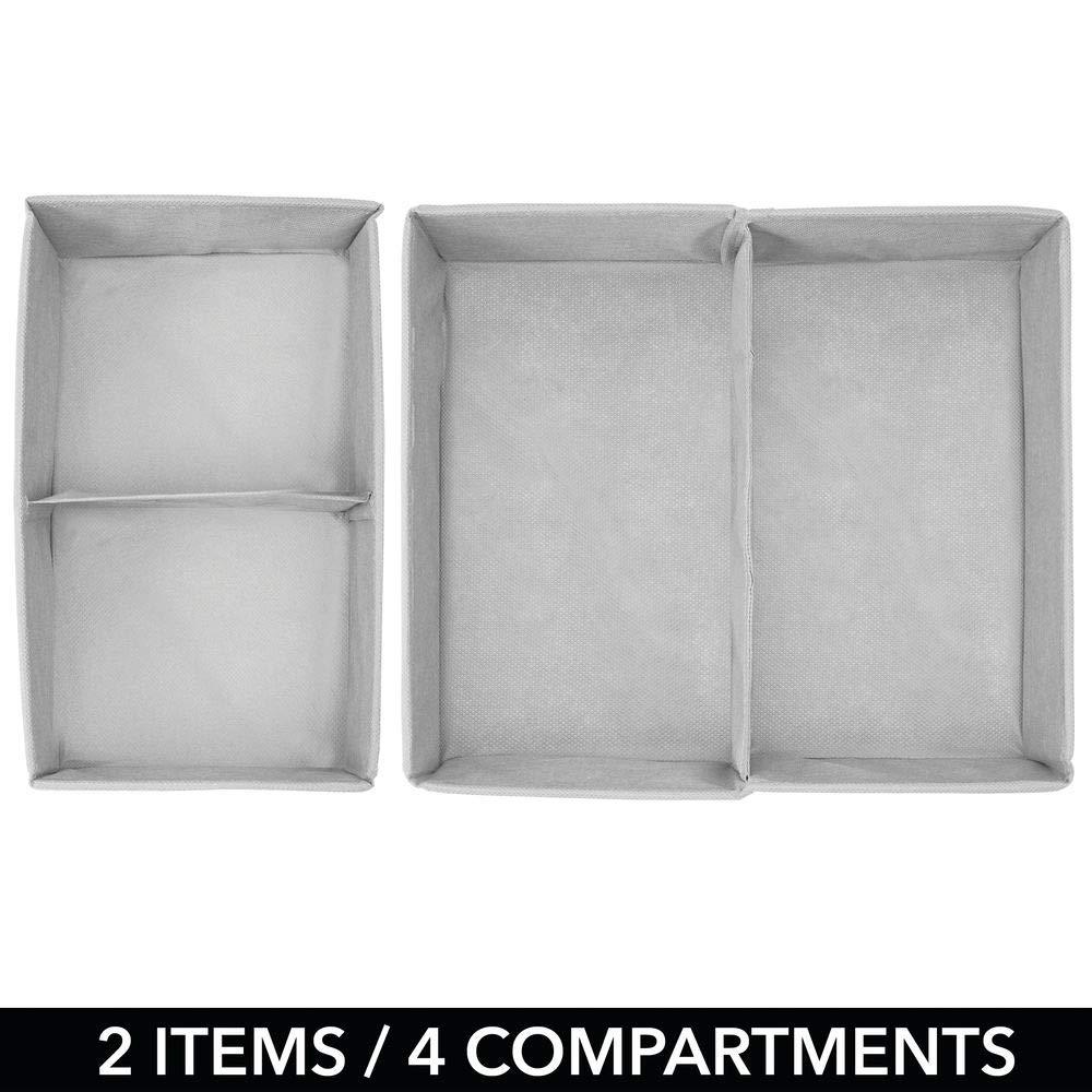 Pr/áctico organizador de armario en 2 tama/ños para todos los cajones mDesign Juego de 2 cajas para guardar ropa Bonita caja de tela con 2 compartimentos y dise/ño de puntos gris claro//blanco
