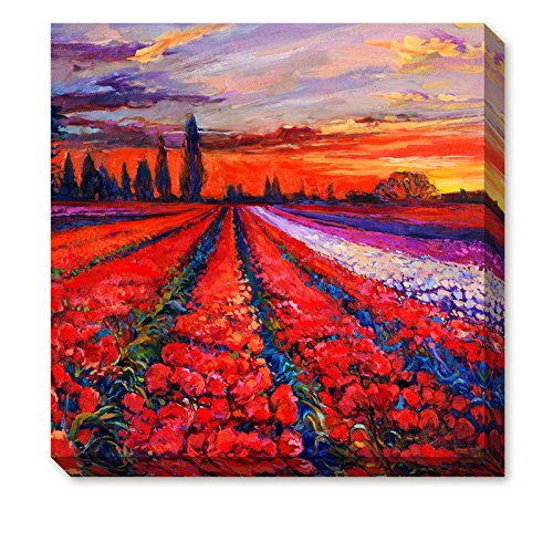 Donglin Art-Framed Oil Painting Print Landscape of Blossoms of Red and Purple Tulip in the Sunset Rosy Clouds for Home and Hotel Decor Ready to Hang (12×12 inch/ 30 ×30 ()