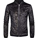 Men's Casual Stand Collar Floral Bomber Flight Jacket Slim Fit Bike Motorcycle Coat Outwear