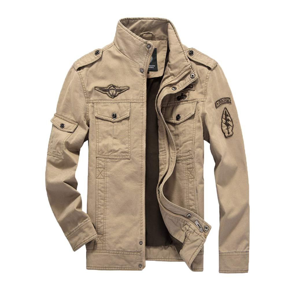 Xiang Ru Cargo Jackets Leisure Outwear Zip-Up Windwear with Fleece for Men Khaki XL by Xiang Ru