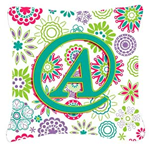 "Caroline's Treasures CJ2011-APW1818 Letter A Flowers Pink Teal Green Initial Pillow, 18"" x 18"", Multicolor"