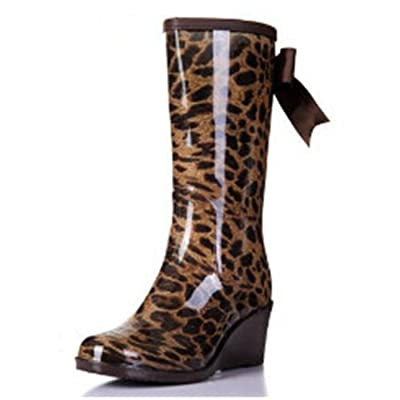 Luise Hoger Ribbon Mid Heels Women Rain Boots Wedge Ladies Rain Shoes Pure Color And Leopard Waterproof Rubber Boots