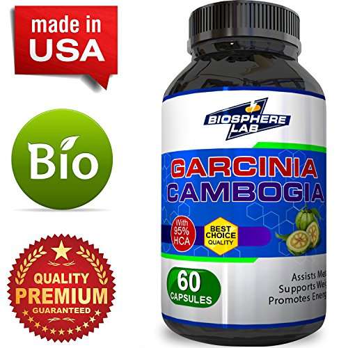 95% HCA Garcinia Cambogia Extract for Weight Loss - Pure Fat Burner Supplement for Men & Women Diet Pills Boost Metabolism Natural Appetite Suppressant Best Fast Acting Carb Blocker - by Biosphere