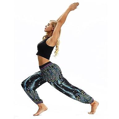 bf4ebf8d07e3 Great Comfort Pantaloni da Yoga, Hippy per Uomo e Donna Larghi e Comodi Fit  con Cintura Elastica Pantaloni Leggins Pantaloni Tuta Donna Abbigliamento  ...