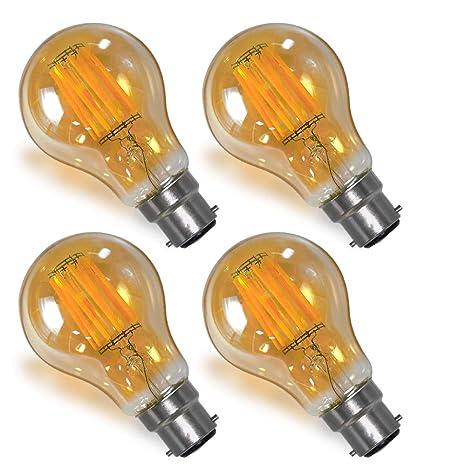 Lamparas Bombillas Globo Edison de Filamento LED Vintage Decorativas E27 B22 8W con Vidrio Retro Iluminacion