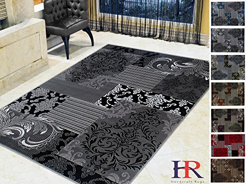 Handcraft Rugs Gray/Silver/Black/Abstract Area Rug Modern Contemporary Floral and Patchwork Geometric Design for Living Room/Guest Room/Dining Room/Office