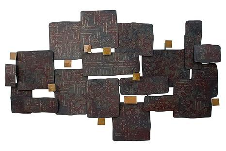 Kunstloft® Extravagante Escultura de Pared de Metal Collage de Piedras 108x71x7.5cm   Decoración XXL Metal Arte   Formas oxidadas Marrón   Cuadro ...