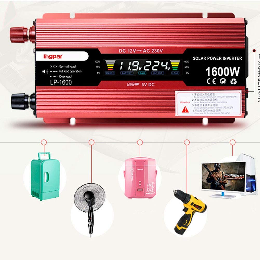 Modell mit USB Konverter1600W-12V XBNBQ Wechselrichter Steckdosen 1200W 1600W 2200W 2400W 12//24 V DC bis 220V Spannungswandler Inverter Spannungswandler f/ür Auto Ladeger/ät Adapter