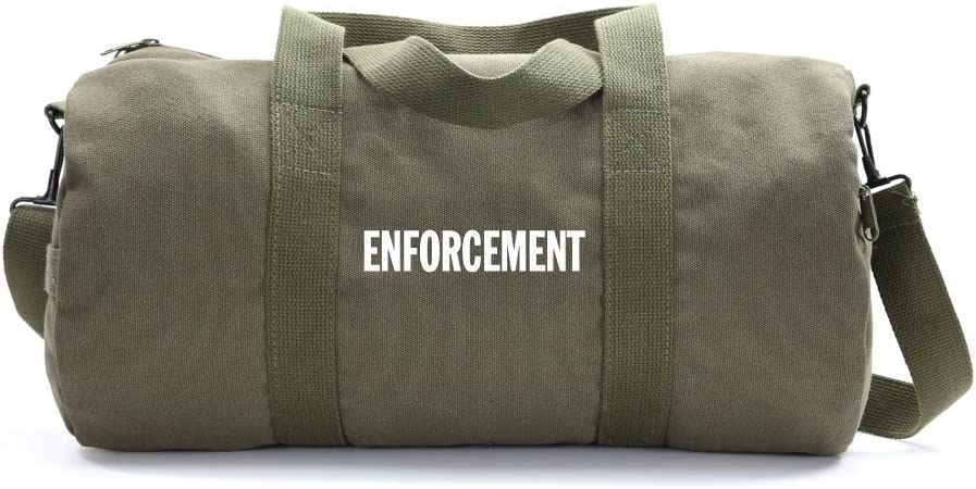 Enforcement Text Army Sport Heavyweight Canvas Duffel Bag in Olive /& Black Large