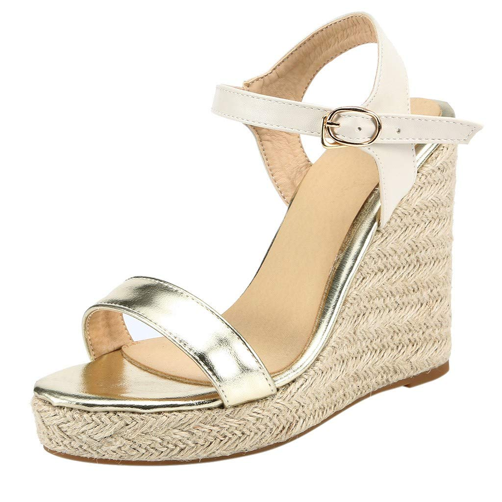 Qingell Womens Peep Toe Platform Wedge Sandals Espadrille Ankle Strap Heel Sandals Retro Open Toe Sandals Gold