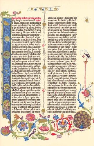 (Gutenberg Bible Genesis Illuminated Facsimile Leaf 1961)