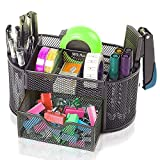 Angelduck Black Mesh Wire Design Desk Organizer, 9 Space Saving Writing Supplies Compartments With a Large Drawer