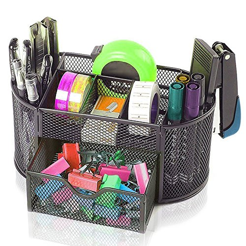 Angelduck Black Mesh Wire Design Desk Organizer, 9 Space Saving Writing Supplies Compartments With a Large Drawer by Angelduck
