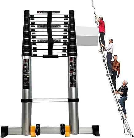 Escaleras Telescópicas Multifunción Escalera de extensión de aluminio plegable, 16 pies / 17 pies / 20 pies / 23 pies / 26 pies Escalera telescópica de ingeniería extra alta con barra de soporte, carg: Amazon.es: Hogar