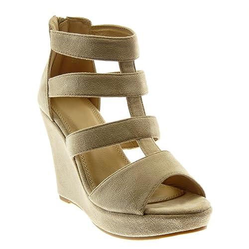 455ca2200b0 Angkorly - Zapatillas Moda Sandalias Mules Peep-Toe Plataforma Gladiator  Mujer Multi-Correa Plataforma 11 CM: Amazon.es: Zapatos y complementos