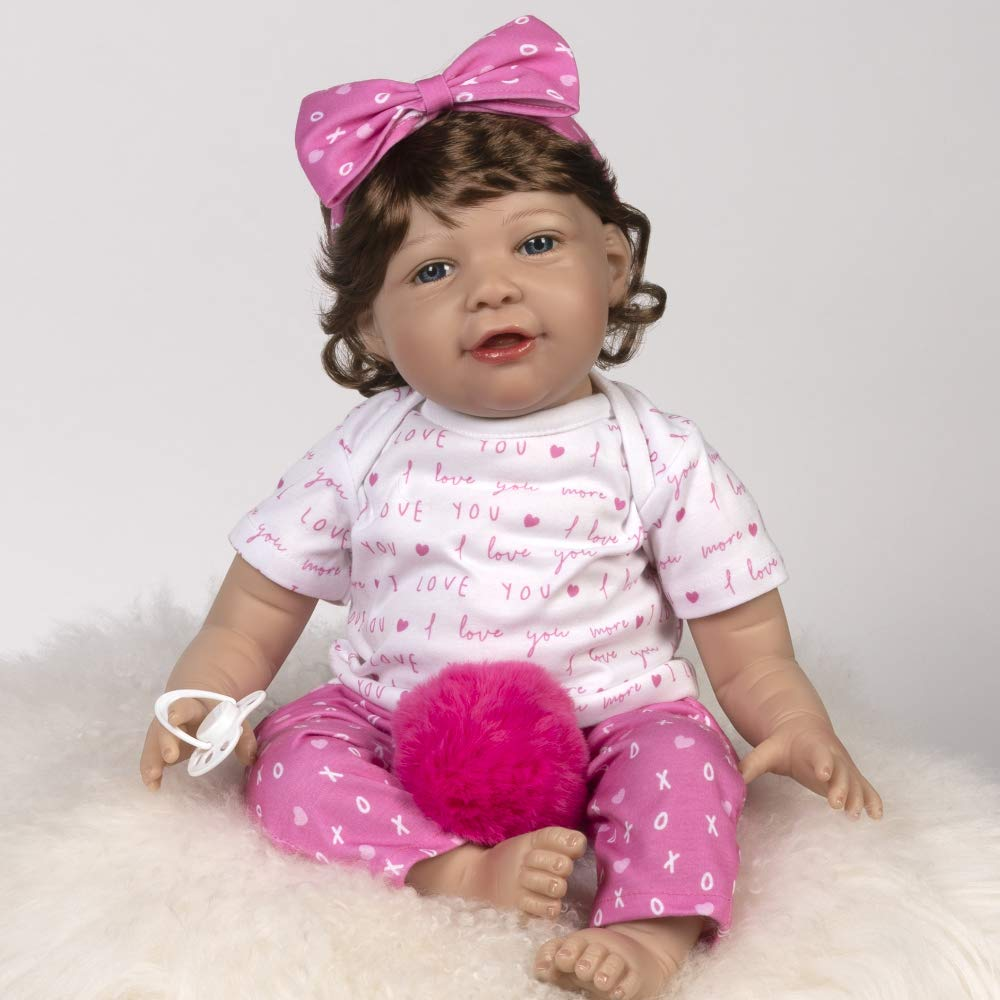 21 inch in SoftTouch Vinyl Paradise Galleries Realistic Toddler Doll I Love You More with Magnetic Mouth and Pacifier 8-Piece Reborn Doll Gift Set