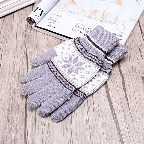 Pyrsun(TM) Women Girl Winter Accessories Warmer Gloves Kintting Snow Flower Mittens Outdoor Cover Fingers Workout Glove for Men Boys