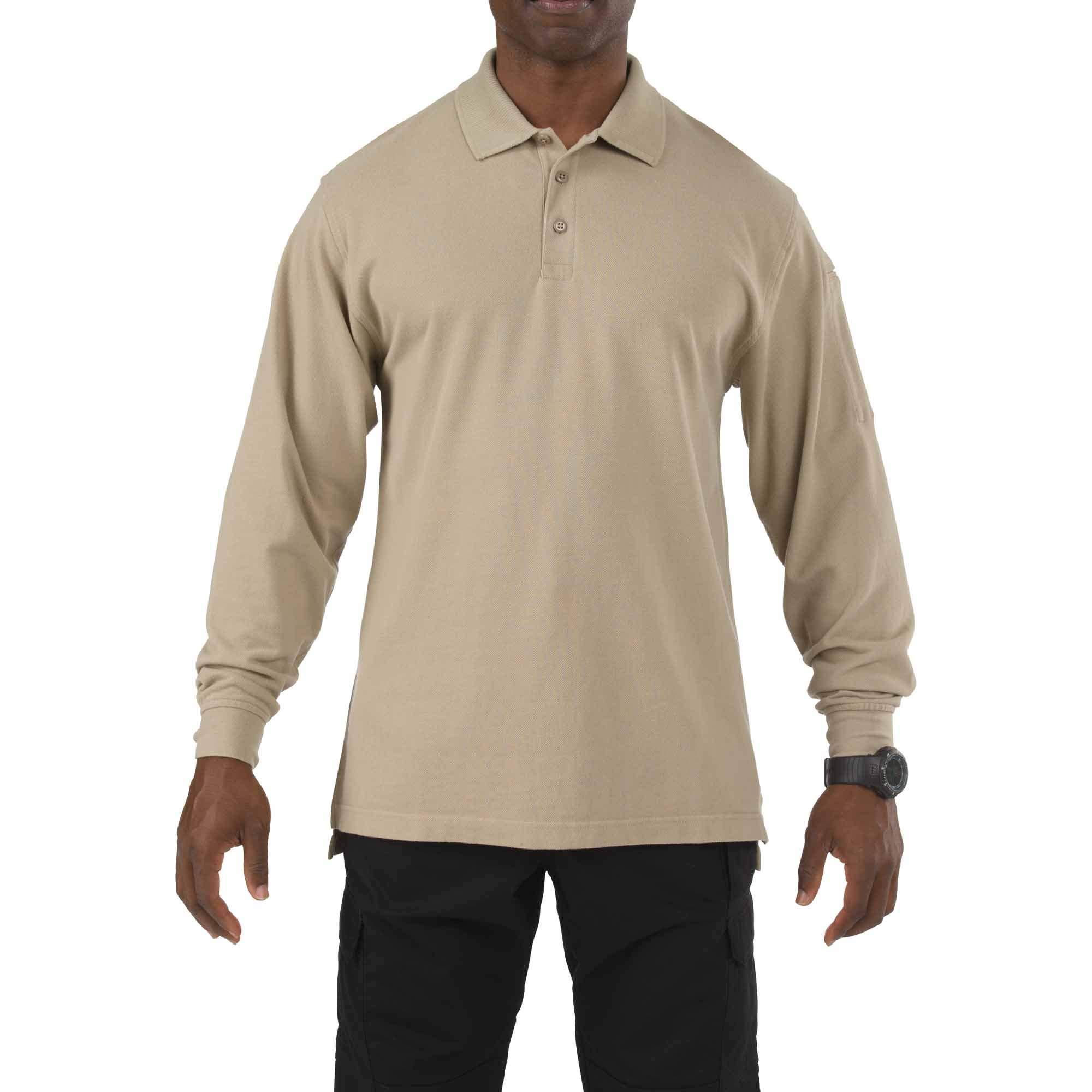 5.11 Tactical Long Sleeve Tall Professional Polo Shirt, Silver Tan, XX-Large by 5.11