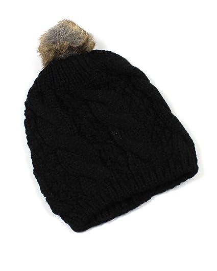 80bb410caff Amazon.com  Cable Knit Faux Fur Beanie Hat (Black)  Clothing