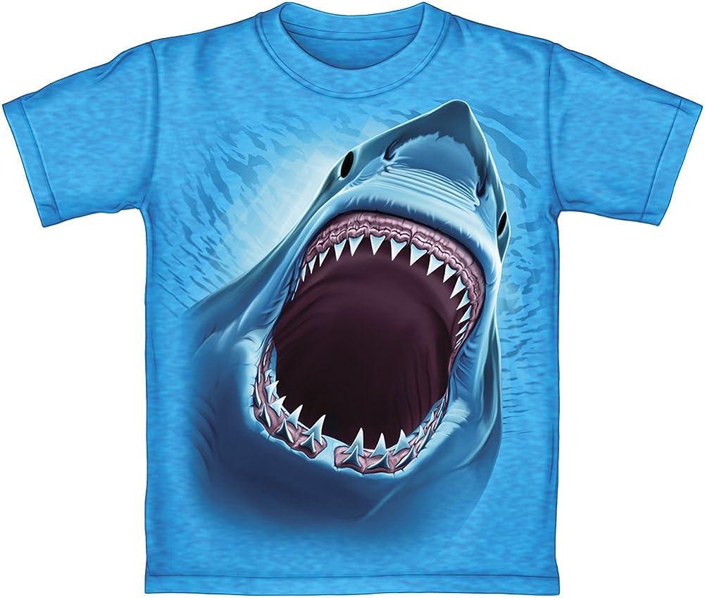 Great White Shark Turquoise Heathered Adult Tee Shirt