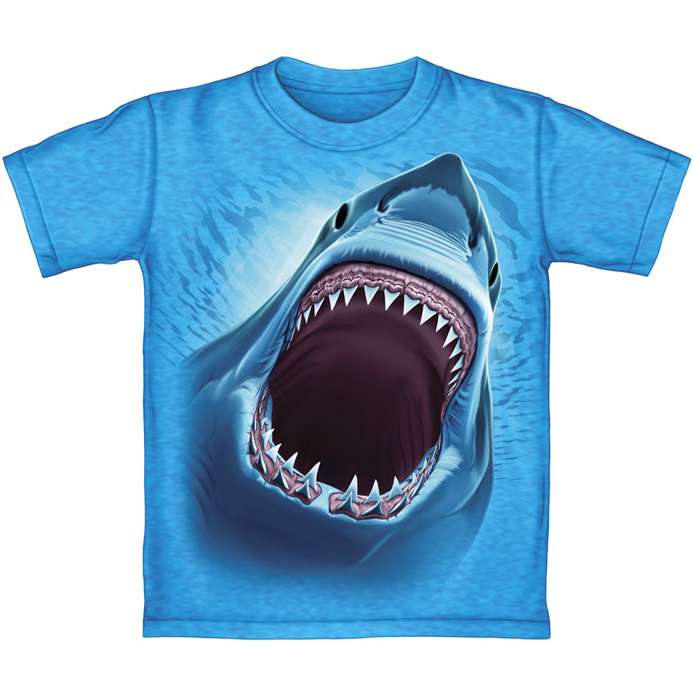 Dawhud Direct Great White Shark Turquoise Youth Tee Shirt