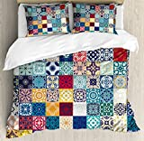 Patchwork King Size Duvet Cover Set by Lunarable, Large Collection of Old Fashioned Cultural Motifs of Lisbon Spain and Tunisia, Decorative 3 Piece Bedding Set with 2 Pillow Shams, Multicolor