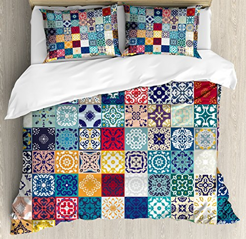 Patchwork King Size Duvet Cover Set by Lunarable, Large Collection of Old Fashioned Cultural Motifs of Lisbon Spain and Tunisia, Decorative 3 Piece Bedding Set with 2 Pillow Shams, Multicolor by Lunarable