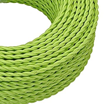 3 Core Round Dark Green Italian Vintage Coloured/_ 0.75mm/_ Braided Fabric Flexible Electrical Cable/_ Hight Quality/_UK Lighting/_Wire/_Cable 3 Core Round, Dark Green 5 Meters