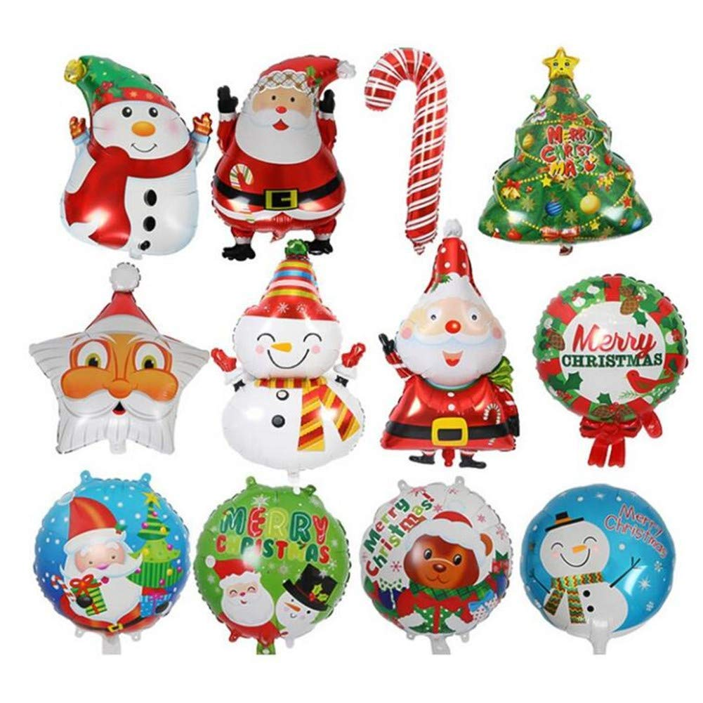 12 Piece Christmas Tree Star Santa Claus Snowman Bell Foil Balloons,Xmas Party Decoration Inflatable Air Balloons,Helium…