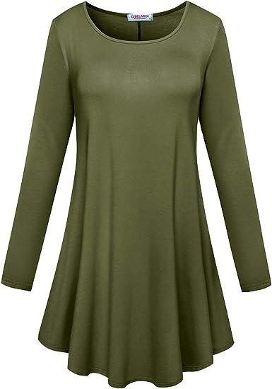Women/'s 3//4 Sleeve Trapeze Fit /& Flare Round Hem Knit Dress Long Tunic Top S~3XL