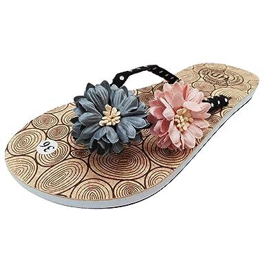 320ec81fa Oliviavan Women Flower Flat Flip Flops Casual Non Slip Wild Beach Slippers  Shoes Black