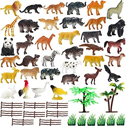 ZZ ZONEX Mini Jungle Animals Figure Toys Play Set 30 Piece, Realistic Wild  Plastic Animal with Artificial Grass & Fencing Learning Games for Boys