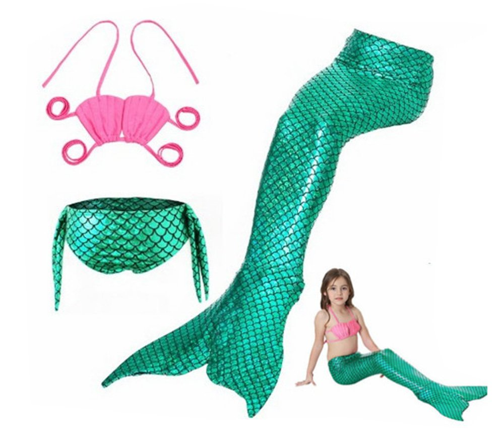 Mermaid Swimsuit per Ragazze Swimmable Mermaid Tail Sets Bikini Mermaid Swimwear