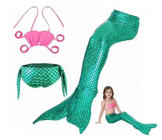 Traje De Baño Sirena para Niños con Bikini Traje De Baño del Mar De Sirena De Cola De Sirena para Nadar