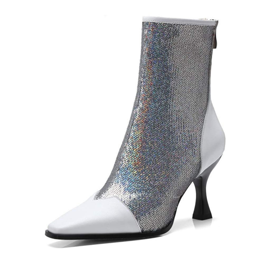 White T-JULY Women Mid Calf Boots Cow Leather Sequined Cloth Pointed Toe Autumn Women Martin Boots Casual Boots Size 34-43