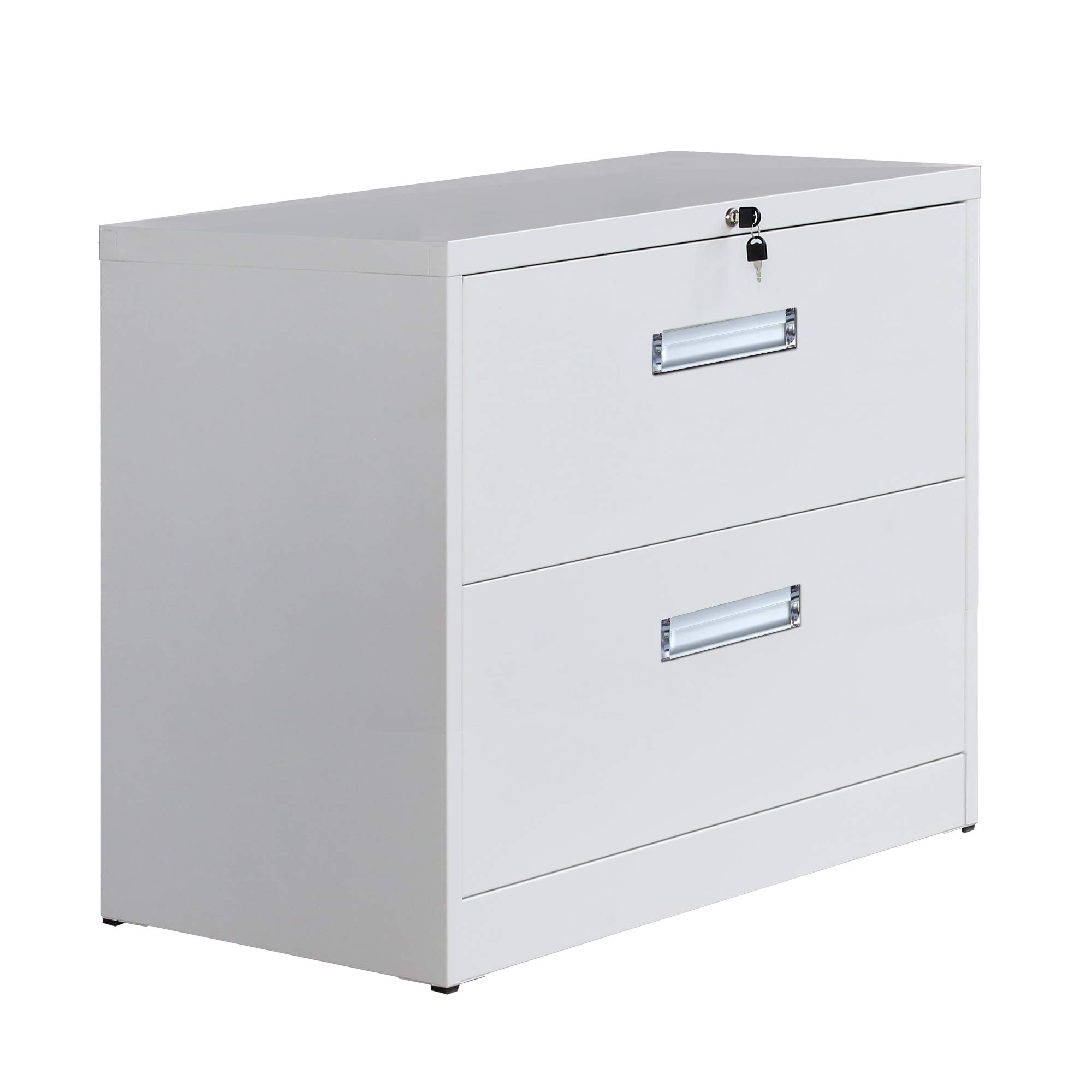 Modern Luxe 2/3 Drawers Metal Vertical Lockable File Cabinet with Hanging File Frame for Legal & Business File (2 Drawers, White)