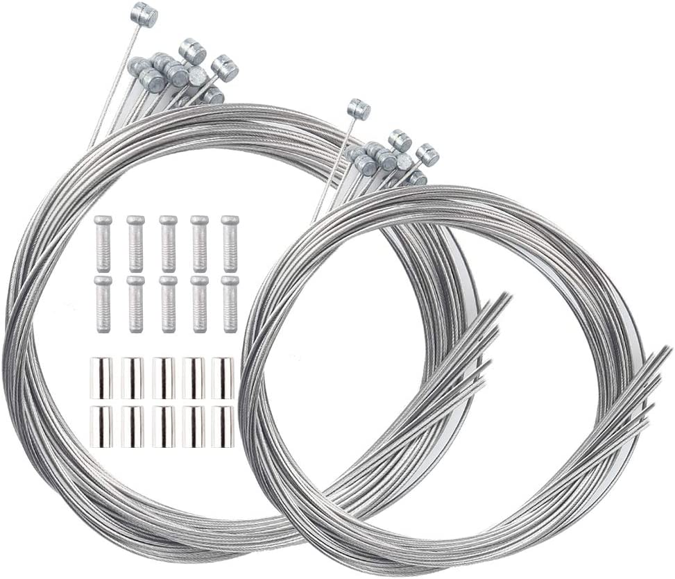 LSSH 10PCS Bike Brake Cable, Bicycle Brake Cable, Brake Cables for Bicycles,Mountain Bike and Road Bike, Bike Brake Cable Kit,Including 10 Cable End Crimps