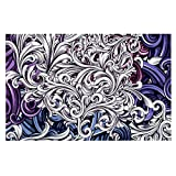 Kess InHouse  Nick Atkinson ''Celtic Floral I'' Purple Abstract Pet Bowl Placemat for Dog and Cat Feeding Mat, 18-Inch by 13-Inch