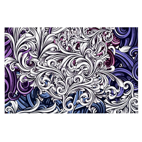 Kess InHouse  Nick Atkinson ''Celtic Floral I'' Purple Abstract Pet Bowl Placemat for Dog and Cat Feeding Mat, 18-Inch by 13-Inch by Kess InHouse