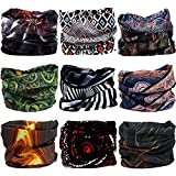 VANCROWN 9PCS Headwear, Headband Scarf Bandanna Headwrap Mask Neckwarmer & More 12-in-1 Multifunctional Stretchable Sport & Casual (9PC.Space.Series)