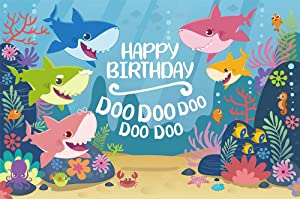 AOSTO 5x3ft Backdrop for Birthday Party Under The Water Shark Family Banner Photography Backdrops Birthday Gift W-3335