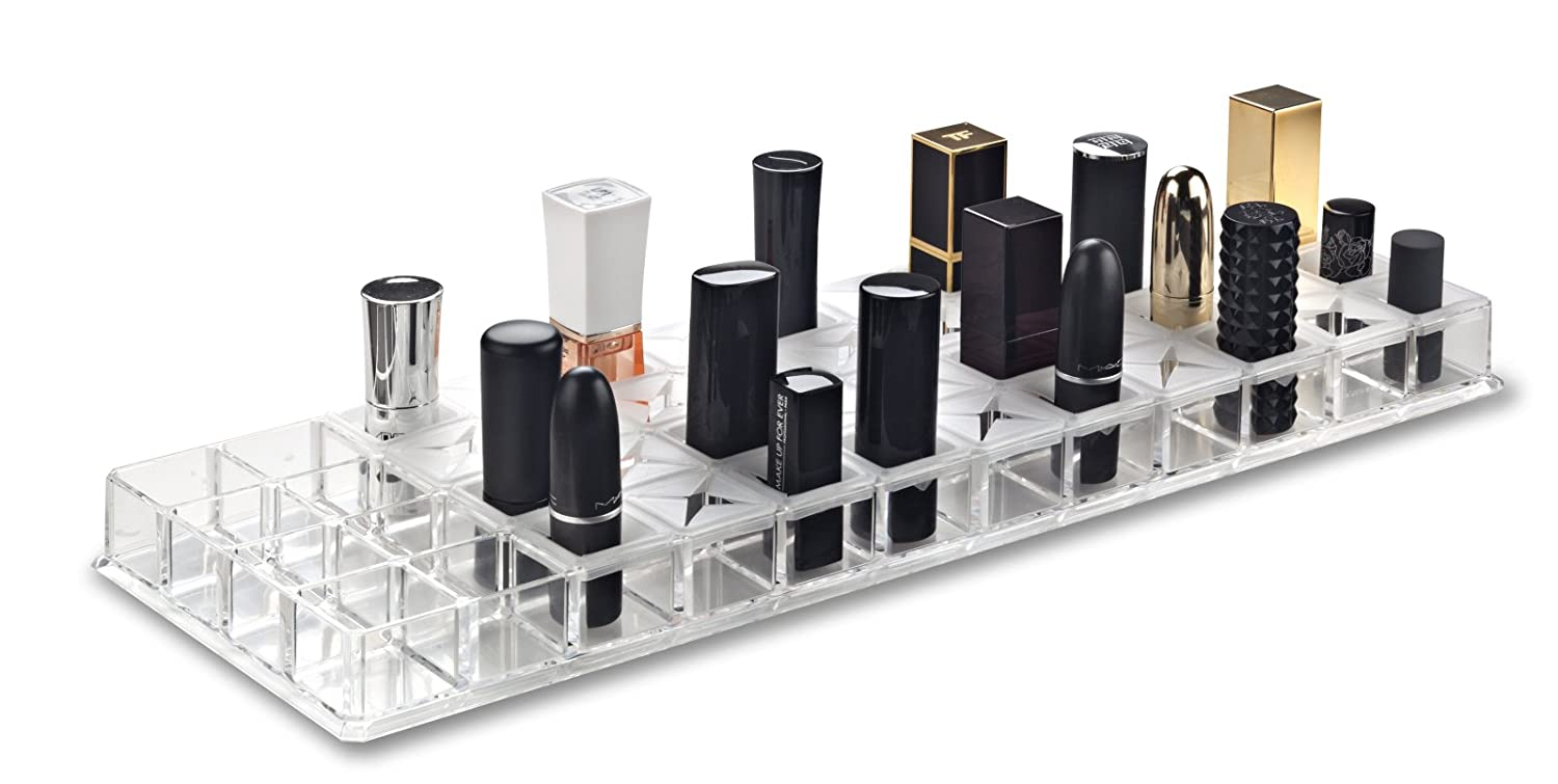 byAlegory Acrylic Lipstick Makeup Organiser With Removeable Silicone Support Inserts | 48 Spaces Fits Alex 9 Drawers PC-17-T