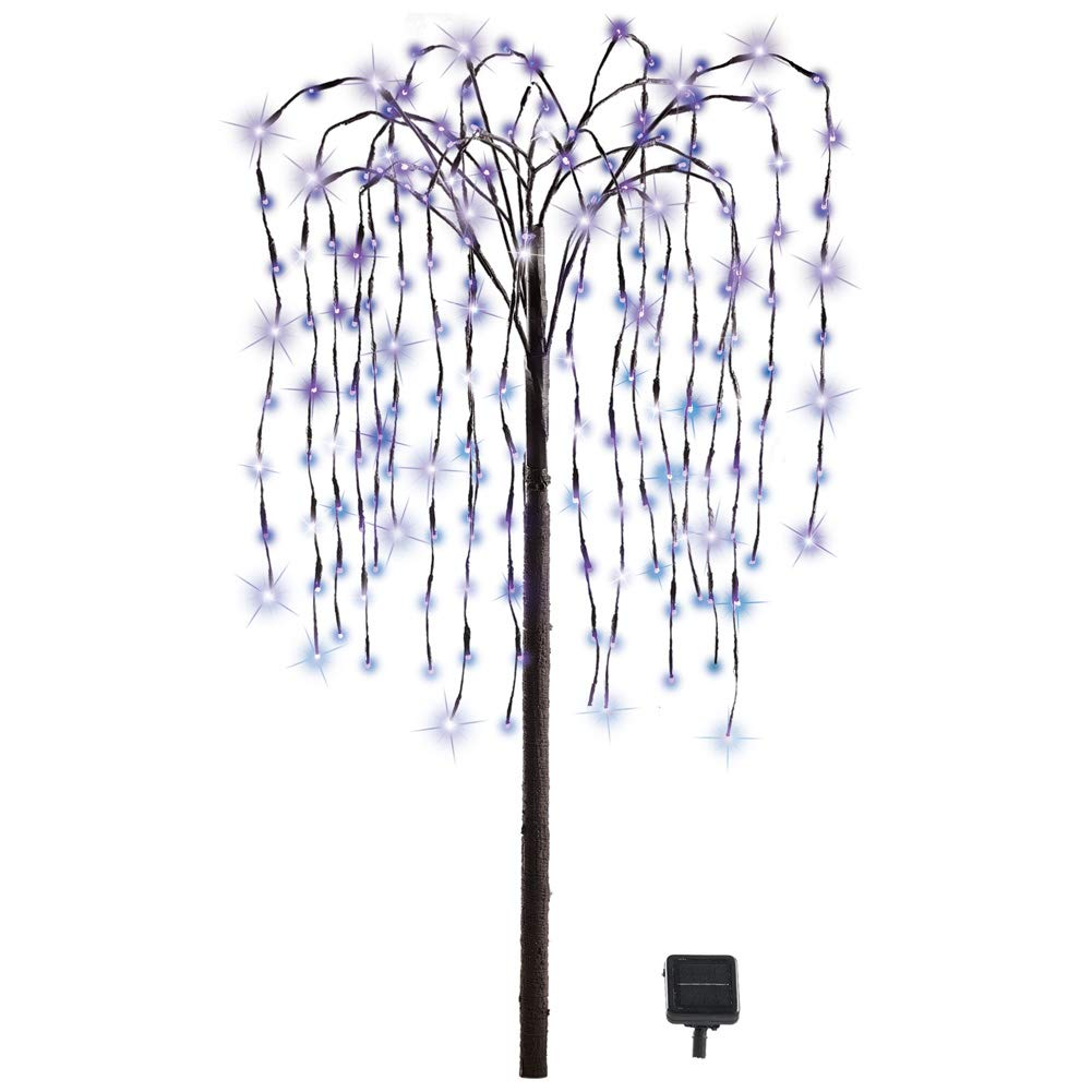 Collections Etc. LED Solar Willow Tree, Outdoor Solar Tree with Colorful Solar-Powered Lights with Adjustable Branches, Purple Lights