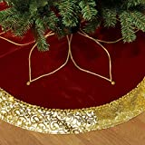 "Valery Madelyn 48"" Traditional Red and Gold Christmas Tree Skirt with Flower Design,Themed with Christmas Ornaments (Not Included)"